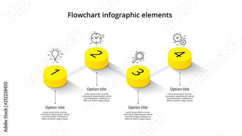 Fotografía Business process chart infographics with 4 step segments