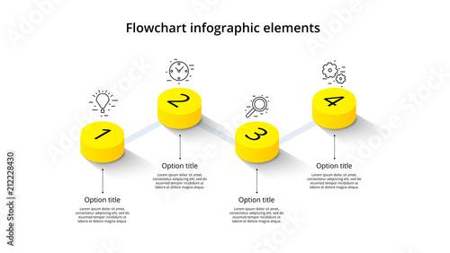 Vászonkép Business process chart infographics with 4 step segments