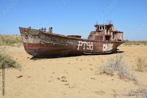 Poster Naufrage Aral Sea, Moynaq, Uzbekistan - Mer d'Aral, Moynaq, Ouzbékistan
