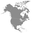 Territory of North America, Canada, Alaska, Mexico with contour. Vector Illustration