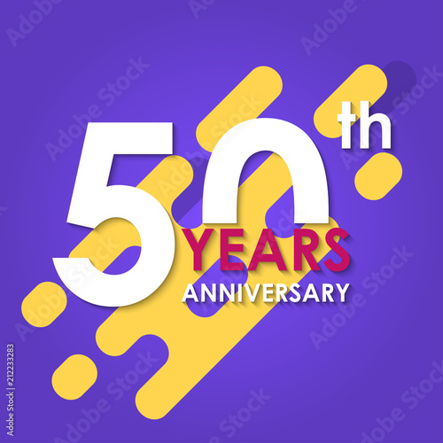 50 Years Anniversary Logo Isolated On Abstract Background 50th Banner Birthday Celebration Party Invitation Card Design Element