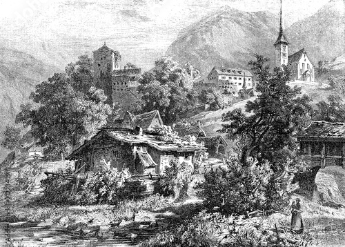 Valokuva  Vintage engraved view of Buerglen in the canton of Uri in Switzerland, legendary