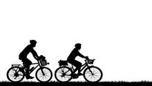 Silhouette Sport Man Whit Bike On White Background