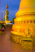 Sunset Golden Pagoda And Buddha In Tiger Cave Temple, Wat Tham Suea In Thailand