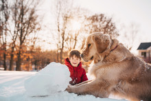 Boy Playing In The Snow With H...