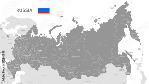 Fotografie, Tablou Grey Vector Political Map of Russia