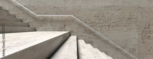 Cuadros en Lienzo Stone stairs and wall with metal rail, banner. 3d illustration