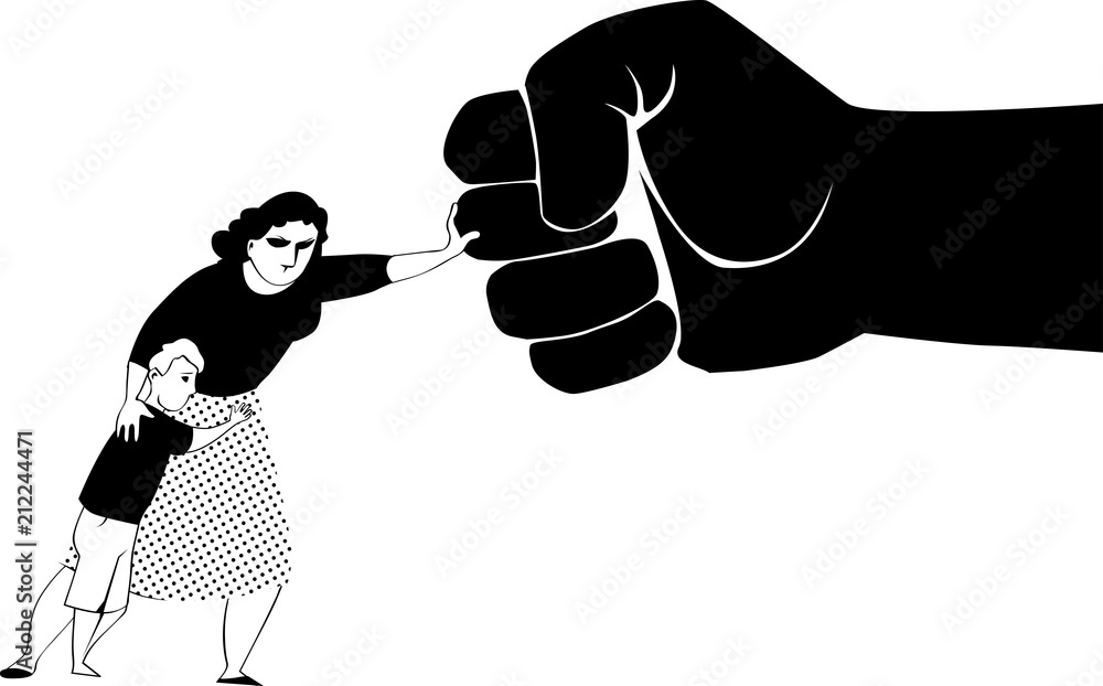 Fototapeta Woman fighting back a giant fist, protecting her child from abuse and domestic violence, EPS 8 black vector silhouette, no white objects