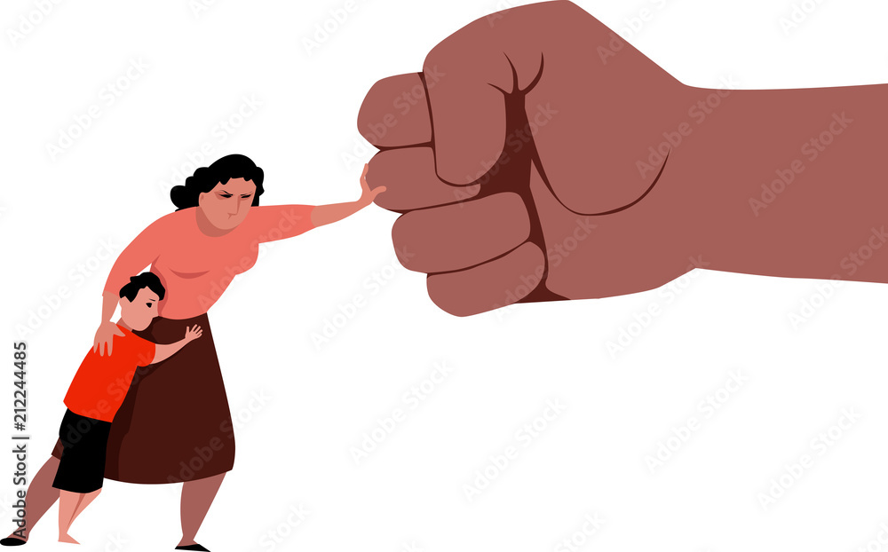Fototapeta Woman fighting back a giant fist, protecting her child from abuse and domestic violence, EPS 8 vector illustration