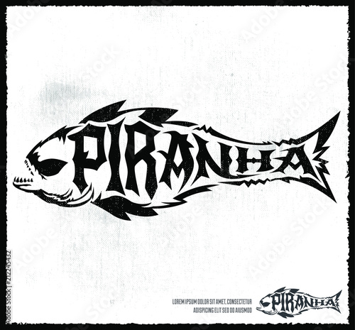 Piranha vector lettering with the shape of a fish, hardcore style grunge emblem vector illustration Canvas-taulu
