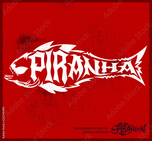 Valokuva  Piranha vector lettering with the shape of a fish, hardcore style grunge emblem vector illustration