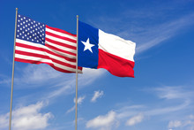 USA And Texas Flags Over Blue ...