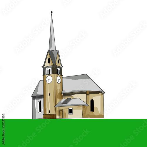 Fotografie, Obraz  Chiesa alpina di San Lazzaro a Forno di Moena