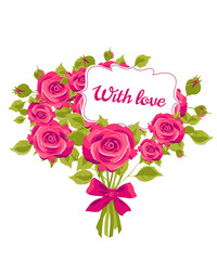 violet  roses, flowers, vintage cards