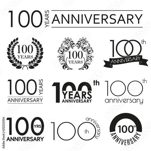 Fotografía  100 years anniversary icon set