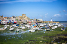 BARFLEUR: Fishing And Recreational Boats At Low Tide In The Harbor Of Barfleur. Barfleur Is A Picturesque Fishing Village In Basse Normandy. France