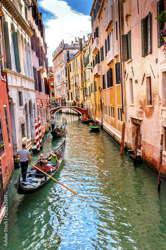 Fotografie, Obraz  Gondola Touirists Colorful Canal Bridge Venice Italy
