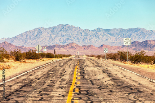 Photo  Route 66 crossing the Mojave Desert (near Amboy), California, United States