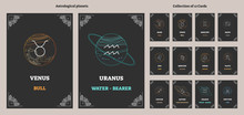 Astrological Planets And Corresponding Zodiac Sign Symbols With Labels. Illustrated Vector Horoscope Cards Collection. Esoteric Universe Astrology System Science.