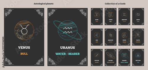 Astrological planets and corresponding zodiac sign symbols with labels Poster Mural XXL