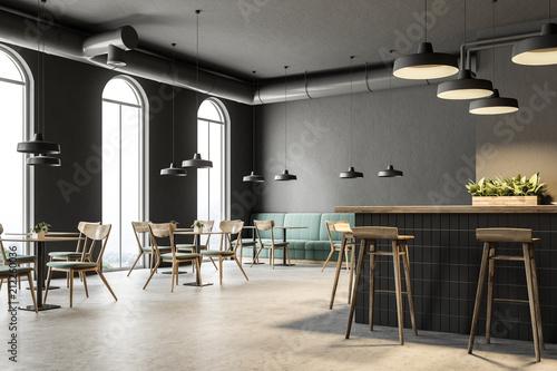 Obraz na płótnie Industrial style bar corner, green sofas