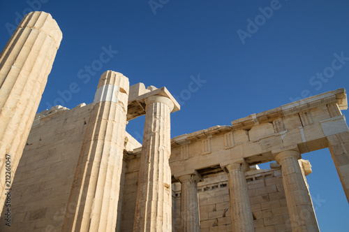 Keuken foto achterwand Athene Columns, Pillars, Ruin of a Temple at the Acropolis with Athens Backdrop, Greece