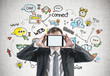 Businessman with tablet, social media