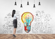 Businesswoman Looking At Wall, Start Up Idea
