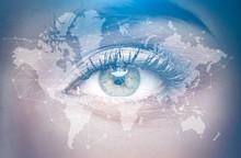 Eye Of A Woman Close Up, World Map