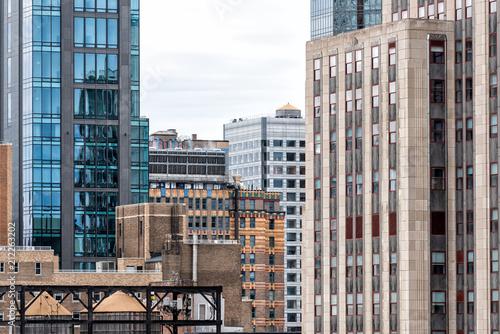 Photo  Closeup pattern of modern skyscraper buildings architecture, sky in New York Cit