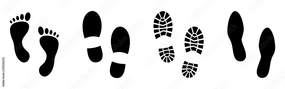 Fototapeta Different human footprints. Vector