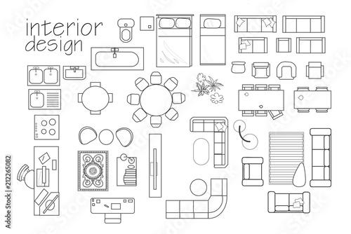 interior design floor plan symbols. top