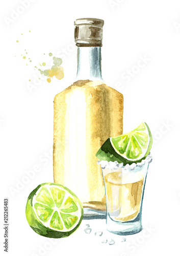 Fotografia Alcohol drink Tequila, yellow bottle of mexican cactus booze, full shot glass with slice of lime and salt