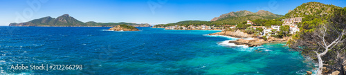 Poster de jardin Europe Méditérranéenne Idyllic panorama view of seaside landscape at the coast of Sant Elm, Mallorca island Mediterranean Sea Spain