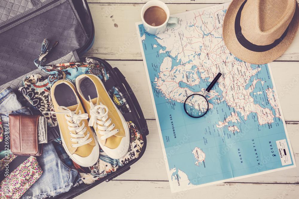 Fototapeta Travel planning concept on map
