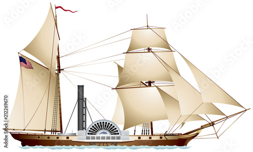 Canvas Print Steamboat, Steamship, sailing ship sidewheel steamer color realistic vector illu