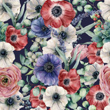 Watercolor seamless pattern with eucalyptus leaves and different flowers. Hand painted anemones, ranunculus, berries isolated on dark blue background. Floral botanical illustration for design. - 212270221