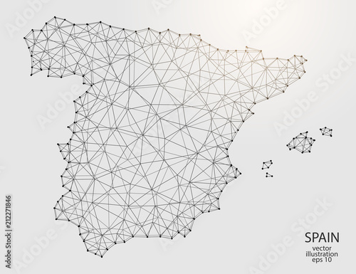 Fotografía A map of Spain consisting of 3D triangles, lines, points, and connections