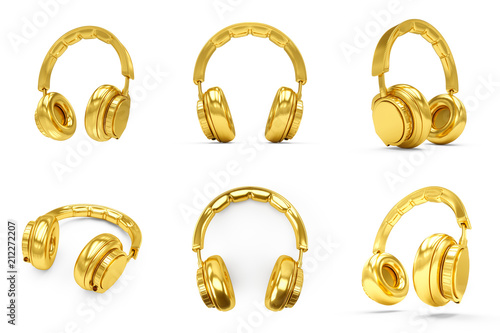 Fotomural 3D Rendering Set of Golden headphones isolated on white background