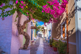 Fototapeta Uliczki - Paved narrow alley of Ano Syros in Syros island, Cyclades, Greece. Street view
