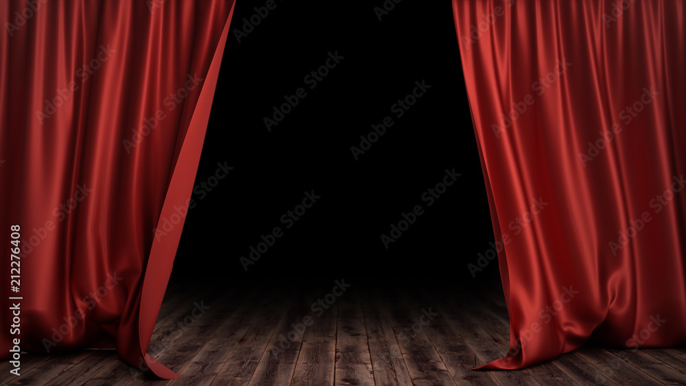 Fototapeta 3D illustration luxury red silk velvet curtains decoration design, ideas. Red Stage Curtain for theater or opera scene backdrop. Mock-up for your design project