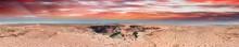 Panoramic Sunset Aerial View Of Horseshoe Bend In Page, Arizona, USA