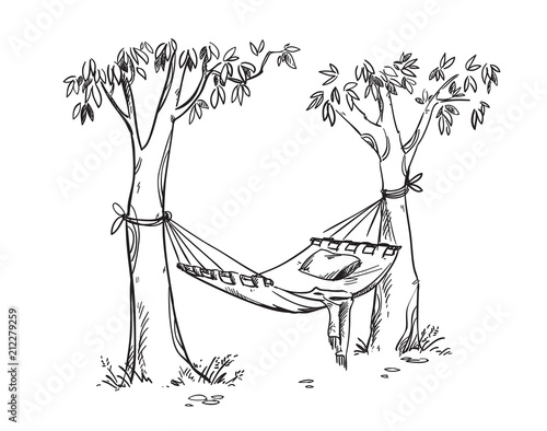 Photographie Cosy hammock in a garden. Vector line drawing