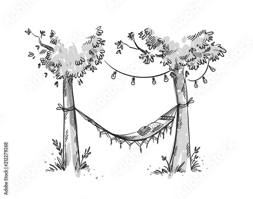 Cosy hammock in a garden. Vector sketch