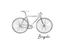 Bicycle Watercolor Sketch. Han...