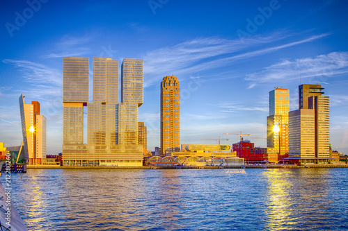 Foto op Canvas Rotterdam Travel Destinations. Sunny View of Rotterdam Port Cityscape Before the Sunset