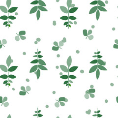 Fototapeta Minimalistyczny botanical seamless pattern. green leaaves print. greenery illustration. delicate fabric design.