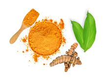Turmeric Root And Turmeric Powder In Wooden Bowl And Spoon With Green Leaves Isolated On White Background,flat Lay,top View