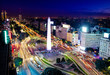 Colorful Aerial view of Buenos Aires and 9 de julio avenue at night - Buenos Aires, Argentina