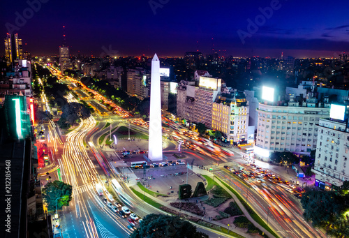 Canvas Prints American Famous Place Colorful Aerial view of Buenos Aires and 9 de julio avenue at night - Buenos Aires, Argentina